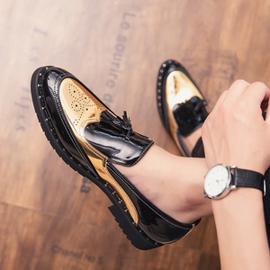 Image 1 - Men Loafers Business tassel Wedding Brand Men Shoes outdoor slip on Breathable Banquet Gold Black Male Shoes Chaussure Homme a4