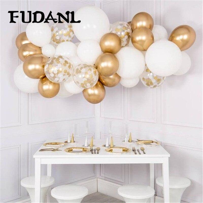 DIY Gold Metal Latex Balloons Garland Kit Pastel Macaron White Navy Blue Chrome Gold Confetti Baby Shower Birthday Party Supply