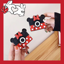 Cute 3D Cartoon Minnie Camera Wireless Earphone Silicone Case Cover for Apple AirPods 1 2 Headphone Charging Box Keychain