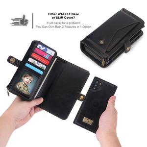 Image 2 - サムスン注 10 プラス財布ケース高級ジッパー着脱可能な磁気革カバーケース三星銀河 (注) 10 S10 s9 プラス