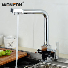 Modern Chrome Finish Kitchen Basin Faucet High Arch 2 Outlet Dual Handle Square Faucet Hot and Cold Mixer Sink Taps OWO-N22-012 цена 2017