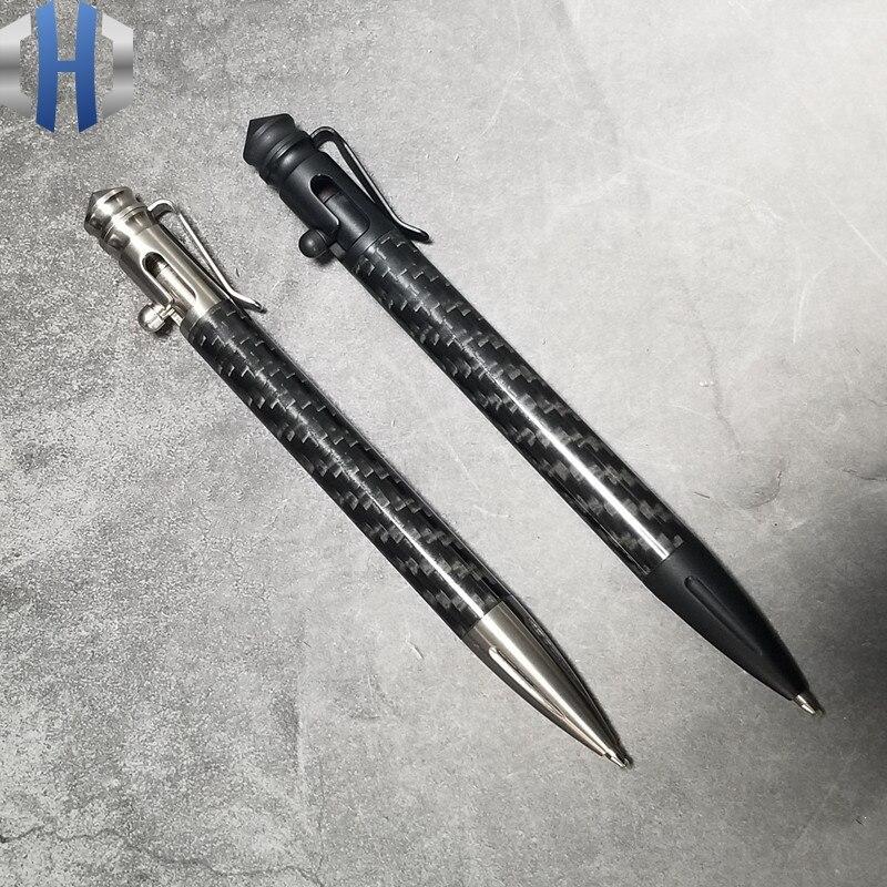 بولت القلم الترباس التكتيكية هجوم القلم ألياف الكربون التنغستن الصلب رئيس 304 الفولاذ المقاوم للصدأ القلم الجسم كامل الحجم EDC المحمولة القلم