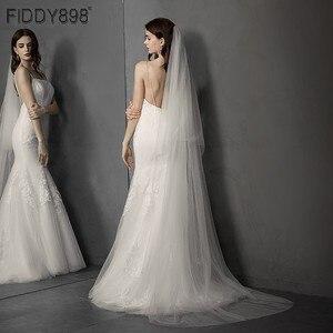 Image 1 - Einfache Weiß/Elfenbein Hochzeit Schleier 2 Schichten 3 meter Weichen Tüll Braut Schleier mit Kamm Hochzeit Zubehör Hohe Qualität velos Novia