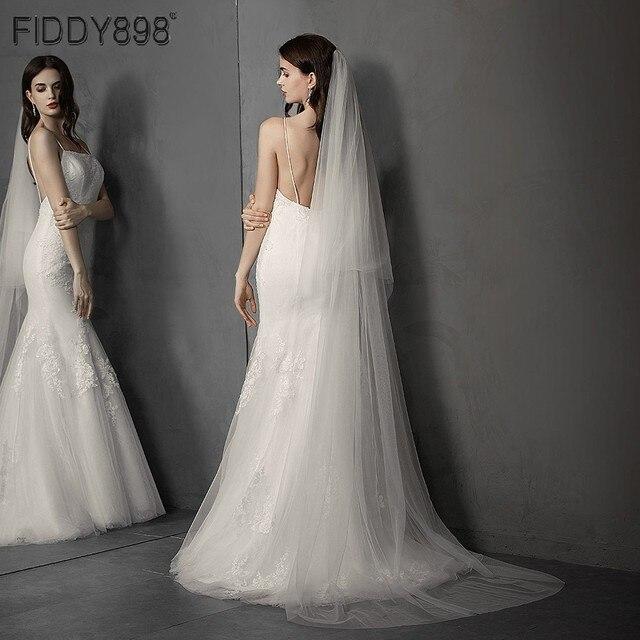 Einfache Weiß/Elfenbein Hochzeit Schleier 2 Schichten 3 meter Weichen Tüll Braut Schleier mit Kamm Hochzeit Zubehör Hohe Qualität velos Novia