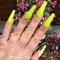 Неоновый зеленый супер длинный пресс на ногтях гроб цветной полное покрытие поддельные ногти с клеем, стикер Ombre Глянцевая балерина искусст...