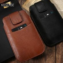 KISSCASE Universel Pour iPhone 6 6 s 7 8 Plus X Rétro Sac de Taille En Cuir Housse De Téléphone Portable Pour Samsung S8 Plus S7 S6 S5