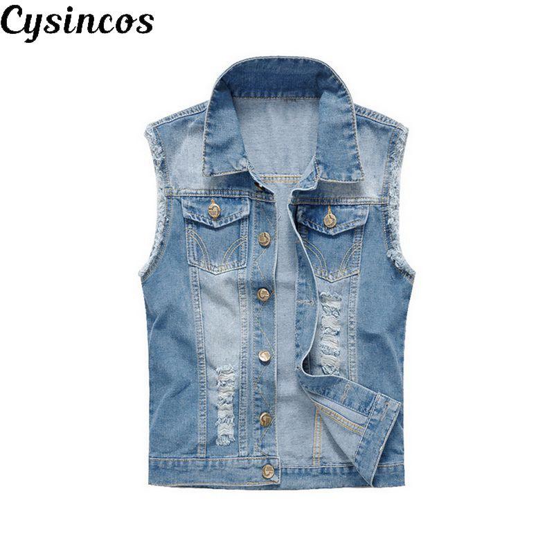 CYSINCOS 2020 NEW Slim Cowboy Male Jacket Vest Ripped Denim Vest Men's Jacket Sleeveless Casual Waistcoat Men's Jean Coat 5XL