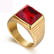 New Luxry Jewelry Rings Gold Color Titanium Steel Ring Color Crystal Rings Casting Ring For Man And Women Free Shipping