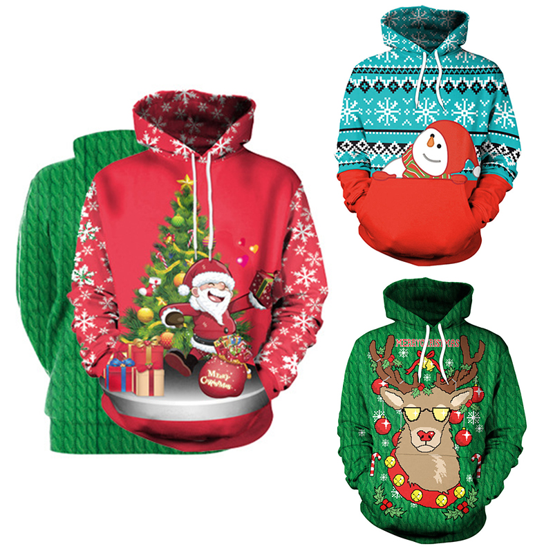 Vintage Santa Claus Ornaments Mens Fashion Hooded Sweater Autumn Winter Casual