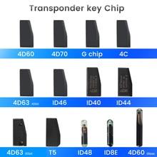 Keyyou chip id40 id44 id46 id63 40bits/80bits id48 id60 vidro id70 id8e t5 4c g transponder automotivo remoto, chip branco da chave do carro