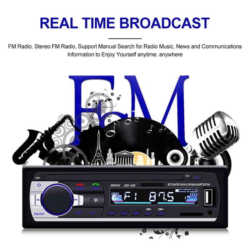 12V In-dash 1Din Car Multimedia Player Car Stereo Radio FM Aux Input Receiver USB Bluetooth Autoradio Auto MP3 Music Player
