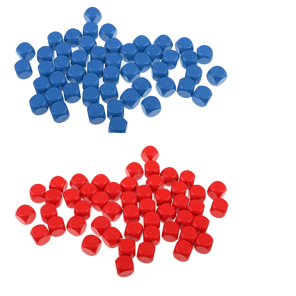 100 Pieces Wood Dice Set of 50 Blank Dice Self Design Pattern Dice Red Blue