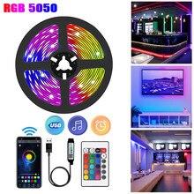 Luces LED Tira LED USB Flexible lampara 1M, 2M, 3M, 5M, 10M, 20M, 30M, 5050 RGB, cinta de diodos, Control por aplicación de teléfono, TV, ordenador, luces de fondo de pared luces led para habitacion