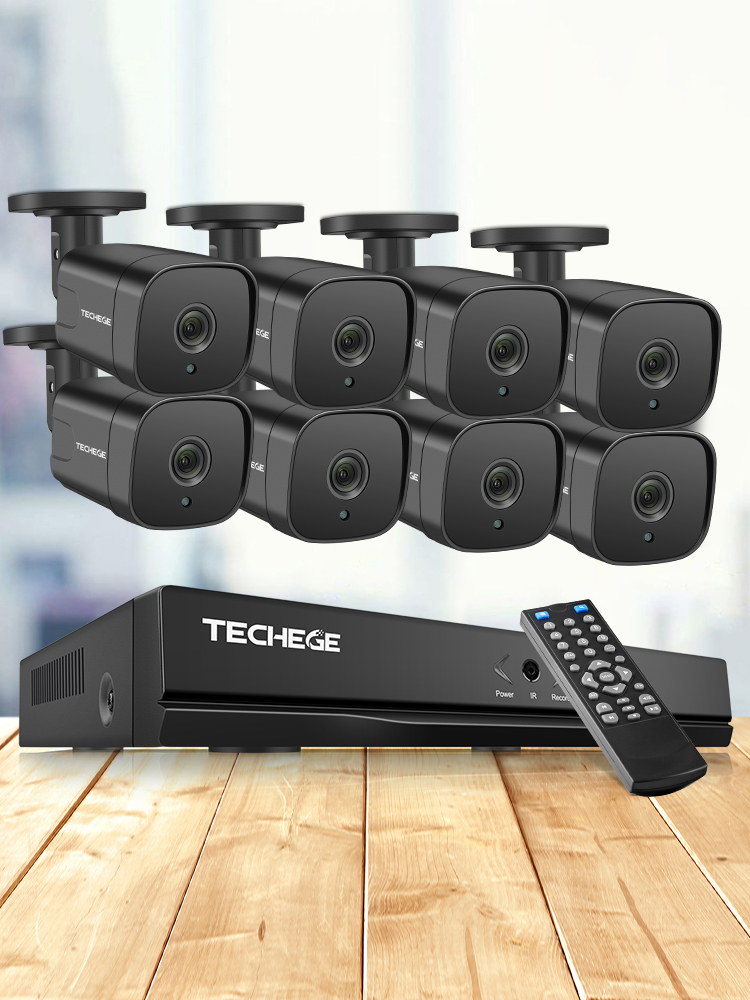 Techege System Nvr-Kit Surveillance-Kit Ip-Camera Video-Security Outdoor H.265 5mp Poe