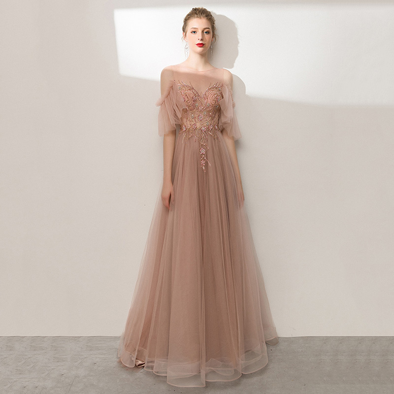 Sexy Hollow Out Evening Party Gown Elegant Pink Full Length Mesh Prom Dress Lady Qipao Exquisite Bling Embroidery Robe De Soiree