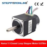 Nema 11 ปิด Loop Stepper มอเตอร์ 0.07Nm Encoder 300CPR 0.67A 2-phase Hybrid Nema11 ขั้นตอนมอเตอร์