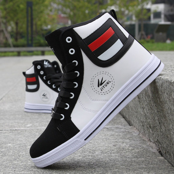 Men's White Skateboarding Shoes High Top Flats Sneakers Breathable Street Sports Shoes Hip Hop Walking Shoes Chaussure Homme men s skateboarding shoes high top sneakers breathable white sports shoes students shoes street walking shoes chaussure homme m2