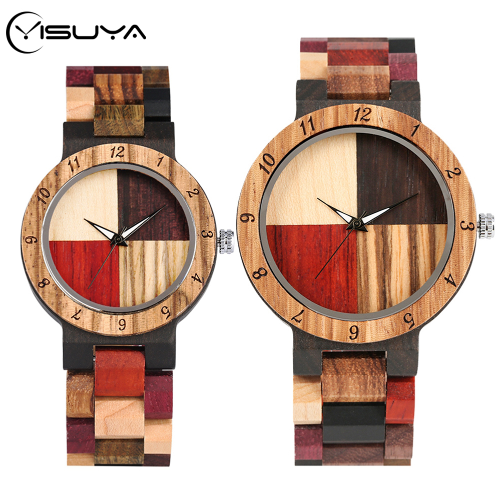 YISUYA Wooden Watches Men's Mixed Color Stitching Cross Wood Quartz Watch Women Adjustable Band Lover's Wrist Watch Unique Gifts