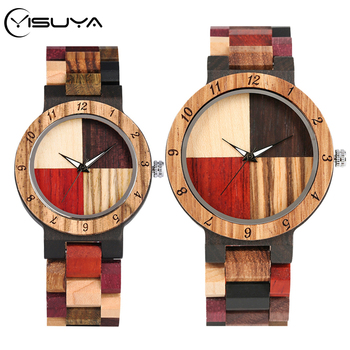 YISUYA Wooden Watches Mens Mixed Color Stitching Cross Wood Quartz Watch Women Adjustable Band Lovers Wrist Unique Gifts