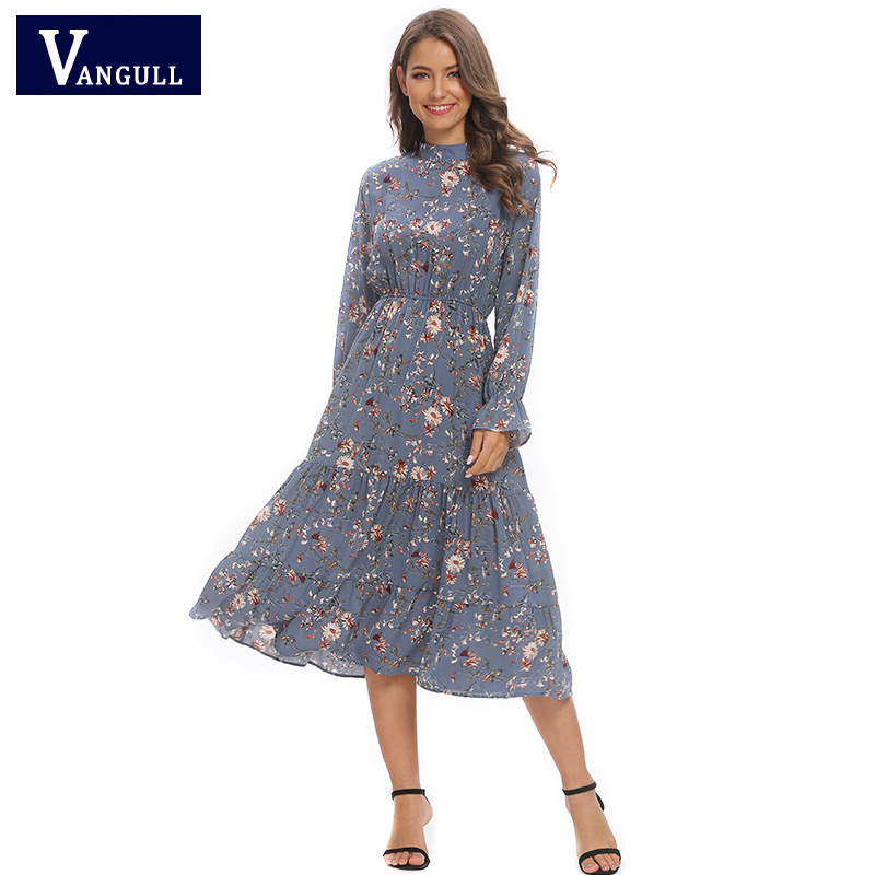 Vangull New Floral Chiffon Blue Dress Crew Neck Long Sleeve Lotus Leaf Elastic High Waist Mid-length A-line Chic Feminine Dress