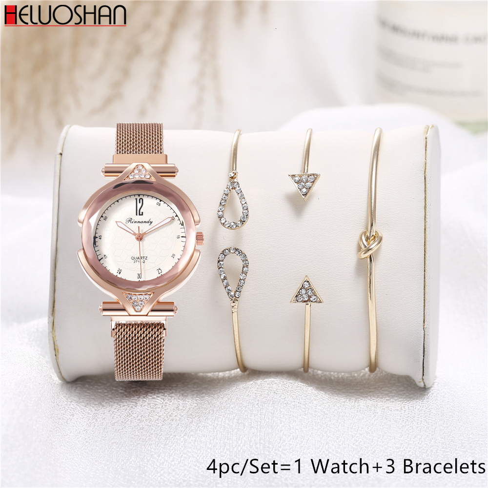4pc/set Top Luxury Women Watches Magnetic Female Clock Quartz Wristwatch Fashion Ladies Wrist Watch Reloj Mujer Relogio Feminino