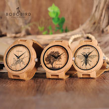BOBO الطيور الساعات الخشبية الرجال نابض بالحياة تصميم خاص الأشعة فوق البنفسجية طباعة الطلب الوجه الخيزران relogio masculino الهدايا الساعات C P20