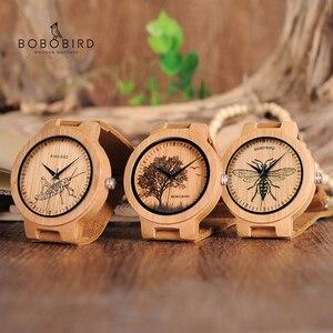 Image 1 - בובו ציפור עץ שעונים גברים כמו בחיים מיוחד עיצוב UV הדפסת חיוג פנים במבוק relogio masculino מתנות שעונים C P20