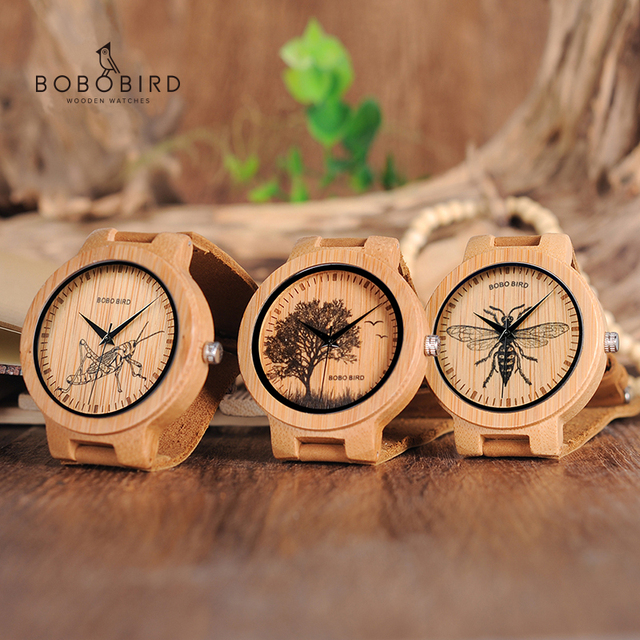 בובו ציפור עץ שעונים גברים כמו בחיים מיוחד עיצוב UV הדפסת חיוג פנים במבוק relogio masculino מתנות שעונים C P20