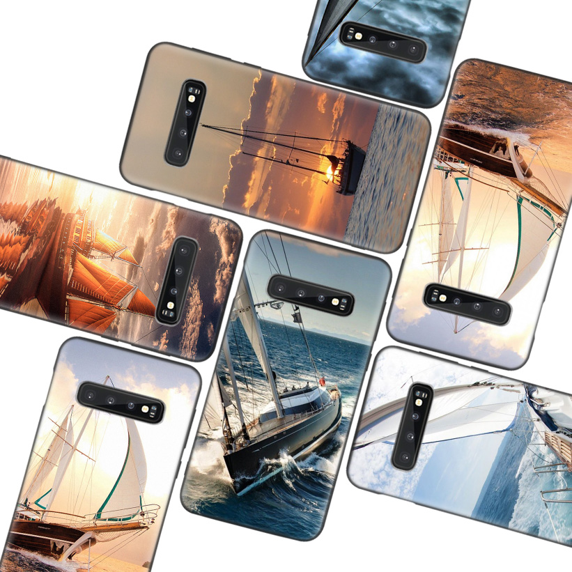 Luxury Sailing Boat Black Case for Samsung Galaxy S10 Lite Note 10 9 8 S9 S8 J4 J6 J8 + Plus S7 S6 Silicone Phone Case