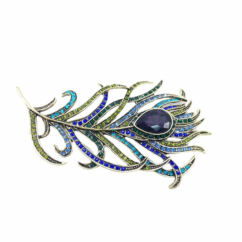 Baru Vintage Besar Rhinestone Merak Bulu Bros untuk Wanita Pins Kristal Buket Perhiasan Broach Hadiah
