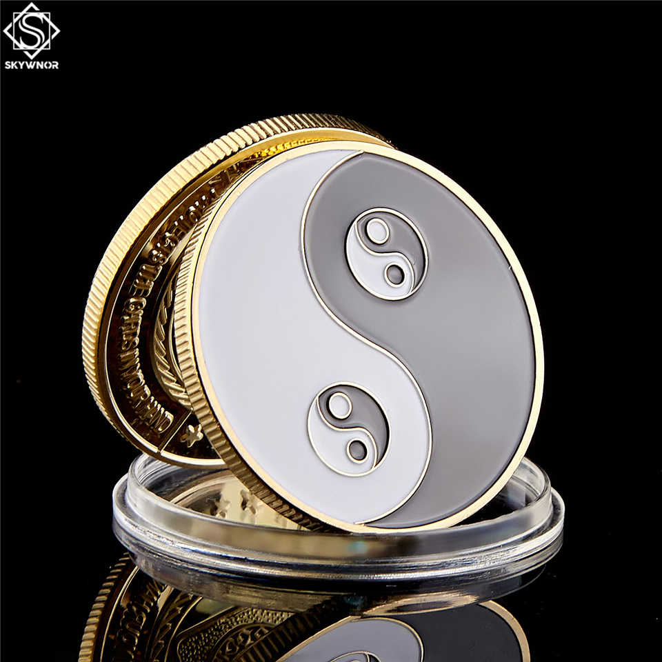 Chinese Tai Chi Zwart Wit Taoïsme teken oude Acht Diagrammen Gold Coin Collection Poker Card Guard Met Coin Capsule