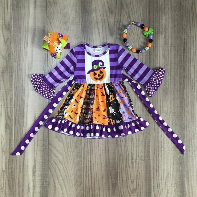 Детская одежда для девочек; осеннее платье для девочек; платье на Хэллоуин с принтом тыквы и ведьмы; детское платье с вырезами и аксессуарами