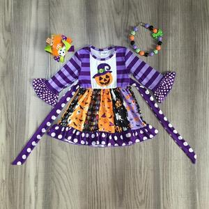 Image 1 - children girls clothing girls fall twirl dress HALLOWEEN dress with pumpkin and witch print kids cut dress with accessories