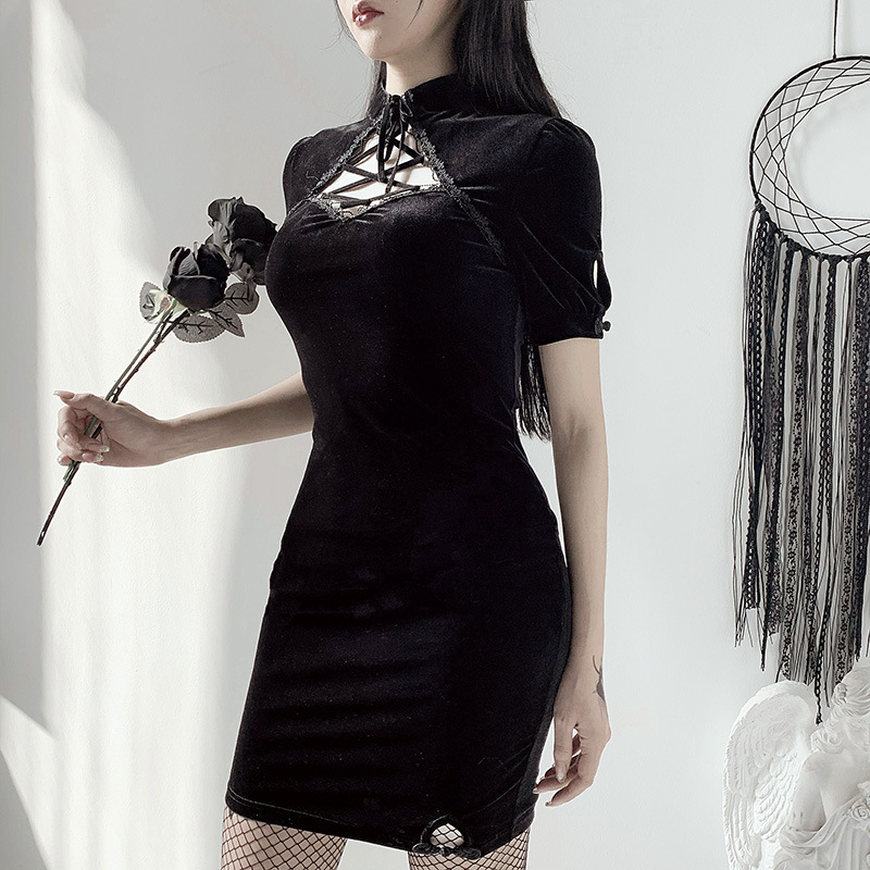 Goth Dark Vintage Bodycon Gothic Grunge Summer Women Dresses Harajuku Cheongsam Spring 2021 Strap Hollow Out Dress Aesthetic Emo