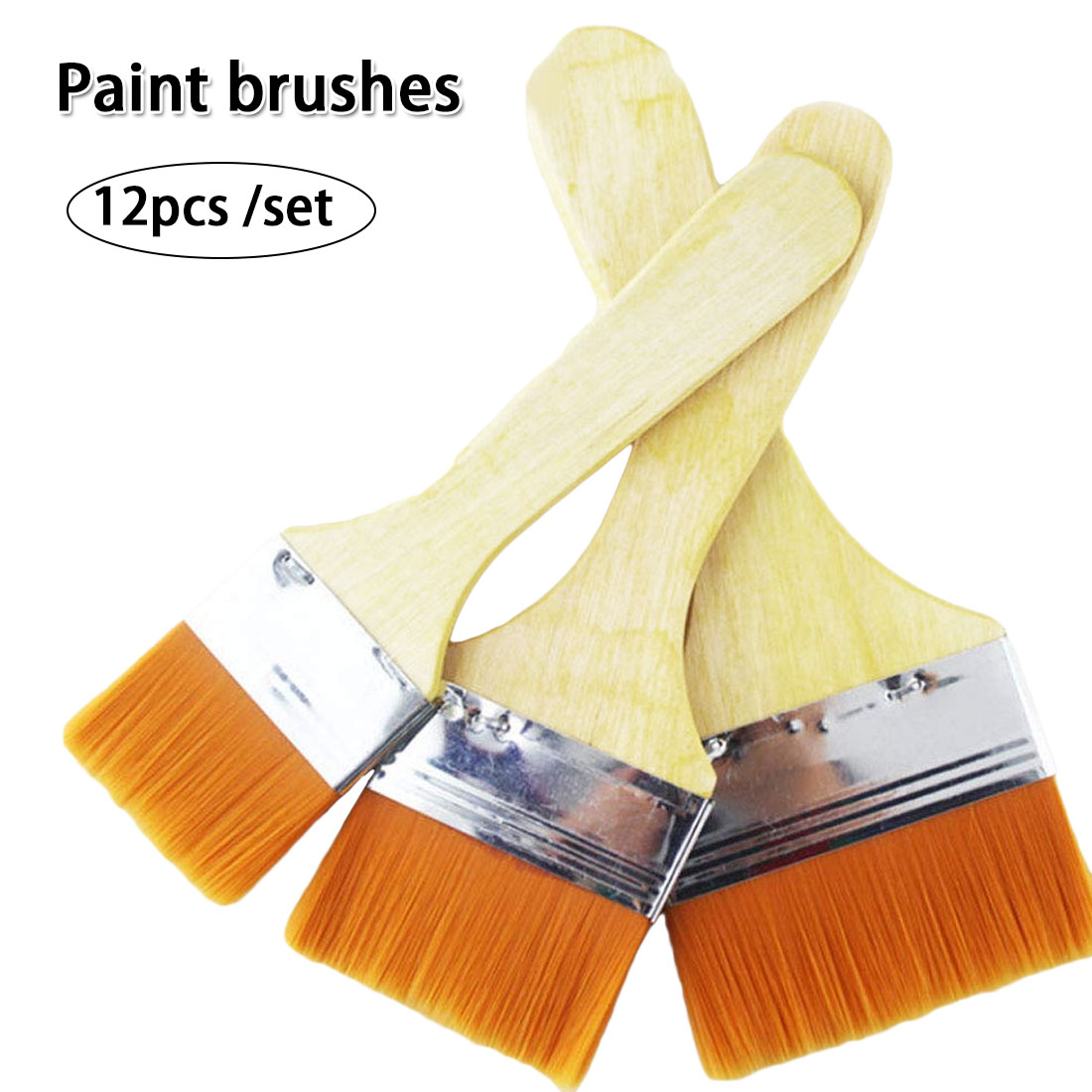 12pcs/set Home Tool Wall Decor Reusable Barbecue Nylon Gouache With Wood Handles Oil Painting For Children Paint Brush