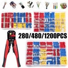 280/480/1200 pces isolado conector de cabo fio elétrico sortido crimp spade butt ring fork conjunto anel talões rolou terminais kit