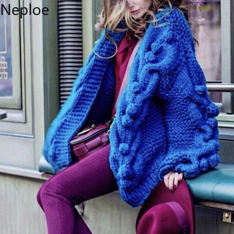 Neploe Cardigans Sweater Lantern-Sleeve Twist-Coat Hand-Knitted-Ball Winter Women New