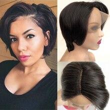 Tinashe Beauty Short Pixie Cut Wig Human Hair Wig Brazilian Remy Human Hair Lace Wig T Part Brazilian Bone Straight Bob Wig