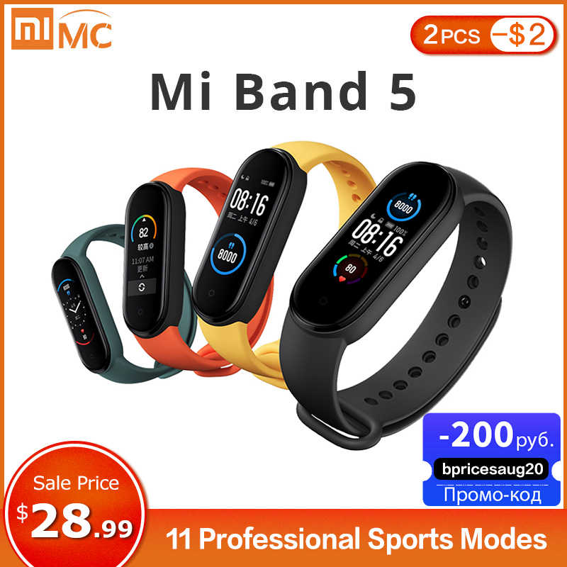 Xiaomi Mi Band 5 Smart Armband 4 Farbe AMOLED Bildschirm Miband 5 Smartband Fitness Tracker Bluetooth Sport Wasserdichte Smart Band