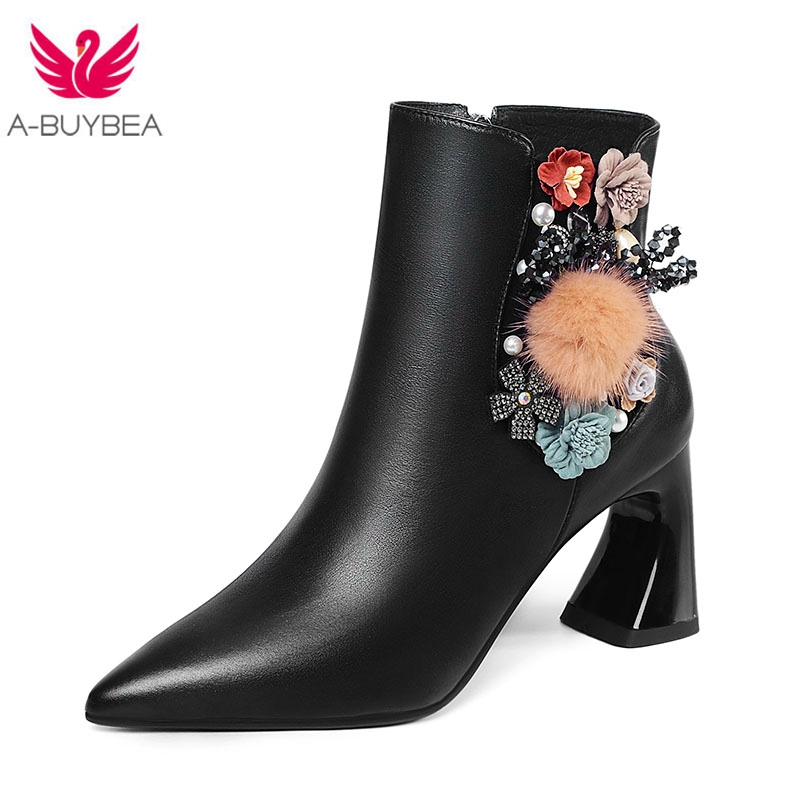 Genuine Leather Flower Women Ankle Boots Pointed Toe High Heels Ladies Winter Shoes Warm Short Plush Strange Heels Female Boots