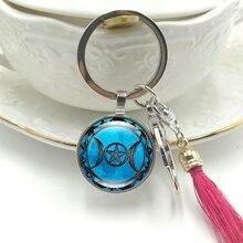 Hot! 2019 New Key Ring Triple Moon Goddess Time Glass Convex Round Pendant Key Chain Tassel Hanging Jewelry thailand imports genuine gv new moon key pendant