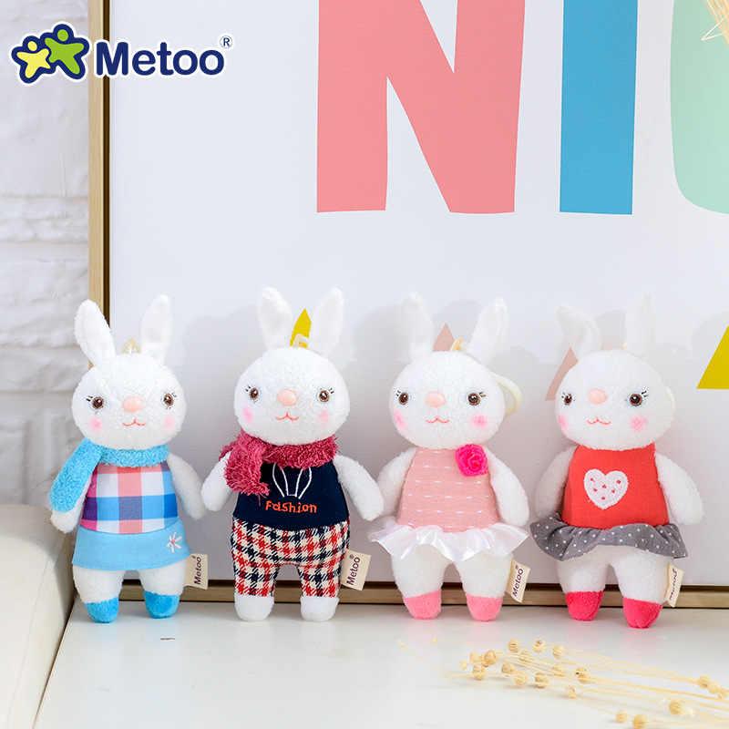 Metoo دمية محشوة اللعب أفخم الحيوانات لينة طفل صبي الاطفال لعب للأطفال الفتيات الفتيان Kawaii مصغرة أنجيلا الأرنب قلادة المفاتيح