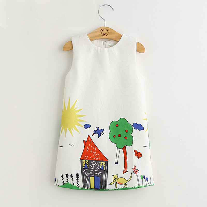 Girls Dress Summer Style Girls Clothes Sleeveless Sunflower Print Design Kids China Dresses Children Clothes3 7Y 40 in Dresses from Mother Kids