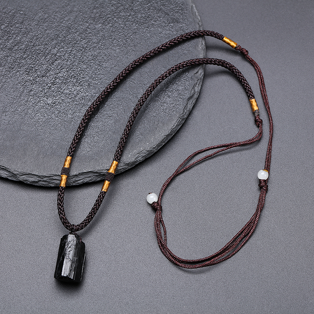 Fashion Crystal Gem Healing Stone Black Tourmaline Stone Pendant Necklace Crystal Gem Specimen