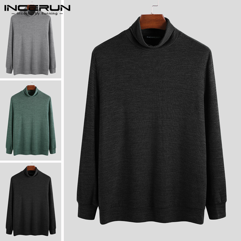 INCERUN Fashion Men Sweater Turtleneck Casual Knitted Solid Color 2020 Slim Fit Long Sleeve Pullover Streetwear Men Sweaters 5XL