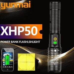 Led taschenlampe cree xhp70 usb lade Stretch zoom Stoßfest power bank 18650 aufladbare taschenlampe taschenlampe