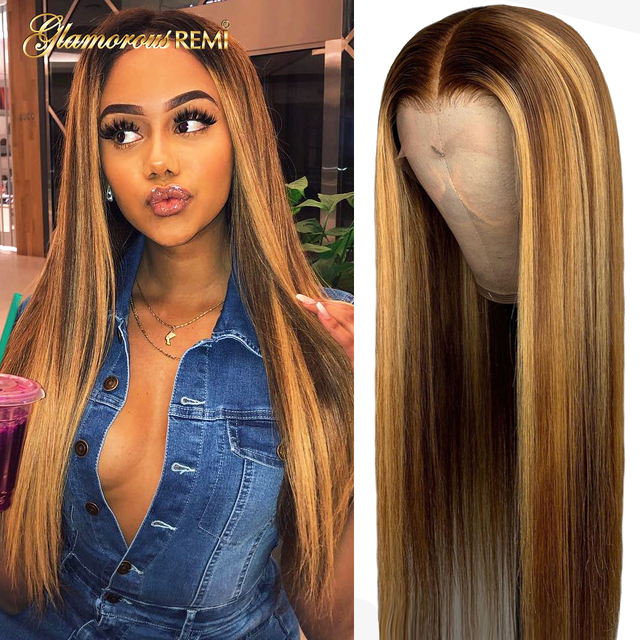 $ US $57.34 13*4 Straight Lace Front Human Hair Wigs Pre Plucked With Baby Hair Ombre Honey Blond Highlights Brazilian Remy Lace Front Wigs