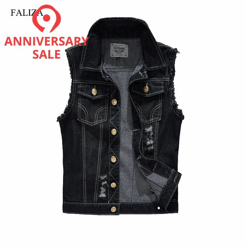 FALIZA Denim Vest Mens Jackets Sleeveless Slim Black Outerwear Mens Denim Coats Jackets Tank Top Cowboy Male Ripped Jacket MJ-I