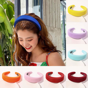 Vintage Padded Headbands Cloth Fabric Sponge Head Hoop Soft Thick Candy Color Hair Hoop Fashion Simple Winter Hair Accessories image