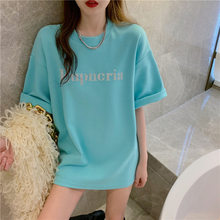 2021 Spring Summer T-shirt Women Oversize Fashion Tshirts Loose Short Sleeve O-neck Letter Printed Students Long Style Shirt Top